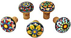Ceramic Majolica Wine Cork Set  - these make such a great hostess gift!  (along with a wonderful bottle of vino, of course . . . )