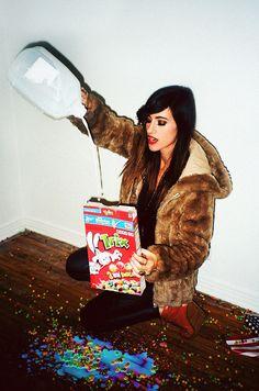 Soft Grunge. Fur Coat. Milk. Trix Cereal. Messy. Black Tights. Red Boot Heels. Girl.