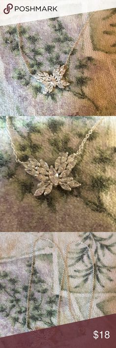 Marquise CZ butterfly in Sterling Silver Beautiful CZ butterfly necklace set in Sterling Silver. Jewelry Necklaces