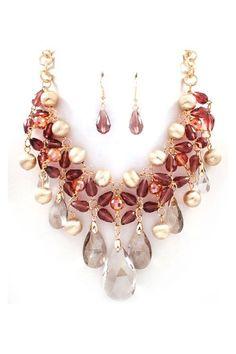 Crystal Dakota Necklace in Vintage Rose
