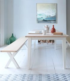 Loaf's oak topped and white painted Humdinger kitchen table and Chops bench