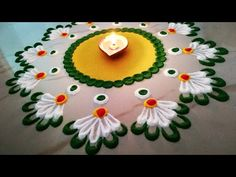 Rangoli designs, easy Rangoli for beginners, Diwali Rangoli designs By Sangeeta.Very easy and quick rangoli using bangles and fork Very Easy Rangoli Designs, Rangoli Simple, Rangoli Designs Latest, Rangoli Designs Flower, Rangoli Border Designs, Rangoli Patterns, Rangoli Ideas, Rangoli Designs With Dots, Rangoli Designs Images