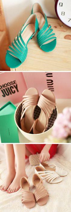 US$32.99  Large Size Peep Toe Wedge Sandals