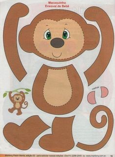 Album Archive - 18 Mariley patch mania applique n. Applique Templates, Applique Patterns, Applique Quilts, Felt Crafts, Paper Crafts, Sewing Crafts, Sewing Projects, Monkey Crafts, Monkey Pattern