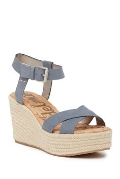 Sizing: True to size. M=medium width. Ankle strap with adjustable buckle closure. Sam Edelman Espadrilles, Wedge Sandals, Espadrille Wedge, Open Toe, Ankle Strap, Wedges, Shoes, Nordstrom Rack, Cork