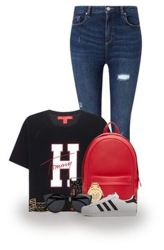 """TH."" by abigaillieb ❤ liked on Polyvore featuring Miss Selfridge, Tommy Hilfiger, PB 0110, Stella & Dot, Le Specs, adidas, tommyhilfiger, hilfiger and tommy"