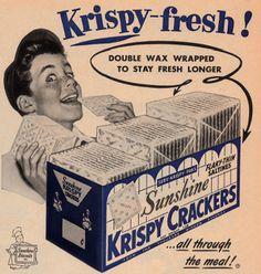 Sunshine Krispy Crackers ad from 1953.