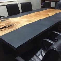 live edge wood and concrete conference table. Could also be a kitchen or … live edge wood and … Concrete Table Top, Wood Resin Table, Slab Table, Concrete Wood, Wood Slab, Wood Table, Live Edge Wood, Live Edge Table, Live Edge Bar