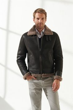 Pronto Men Bomber Brown Shearling Jacket Black Noble   Luxury Shearling Black Shearling Jacket, Shearling Coat, Leather Jacket, Zip Ups, Pilot, Men Casual, Pure Products, Luxury, Brown