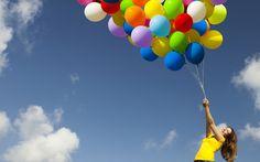 девушка, воздушные шары, позитив