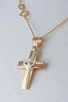 Βαπτιστικός σταυρός με αλυσίδα, σε ροζ χρυσό με ζιργκόν, 14 καράτια, κορίτσι, κωδικός GS324 Crosses, Mary, Jewellery, Orange, Pearl Necklaces, Objects, Accessories, Jewels, Jewelry Shop
