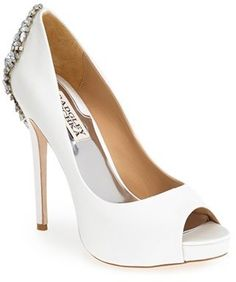 Badgley Mischka 'Kiara' Crystal Back Open Toe Pump (Women) shoes dress white