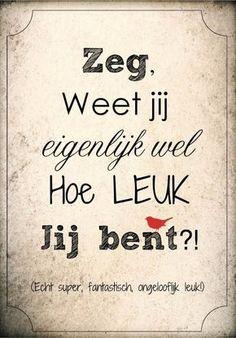 Zeg, weet je eigenlijk wel hoe leuk jij bent!? Happy Quotes, Positive Quotes, Best Quotes, Funny Quotes, Bff, Dutch Quotes, More Than Words, True Words, Beautiful Words