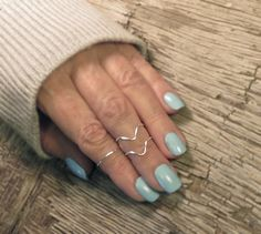 Above the Knuckle Ring Chevron Set, Midi Stacking Rings Dainty Rings  -These handmade knuckle rings (midi rings) come as a set of three (one