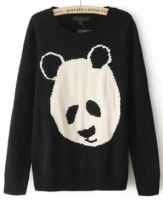 Black Long Sleeve Cartoon Panda Pattern Sweater - Sheinside.com