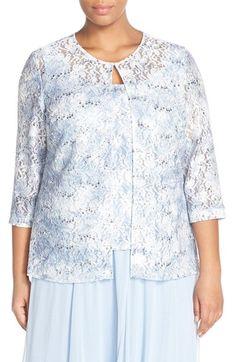Alex Evenings Sequin Lace Twinset (Plus Size)