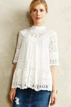 white lace peasant top - anthropologie~~Get in my closet! Bohemian Mode, Boho Chic, Colorful Outfits, Boho Fashion, Womens Fashion, Fall Fashion, Blouse Outfit, The Bikini, Peasant Tops
