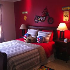 Car and motorcycle inspired room for Quinn