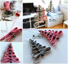 Ribbon and Bead Christmas Tree Ornaments