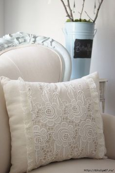 Vintage French cutwork embroidery pillow w/cream rosebuds and fleur design Fluffy Pillows, Diy Pillows, Decorative Pillows, Throw Pillows, Lace Pillows, French Pillows, Cutwork Embroidery, White Embroidery, Vintage Embroidery