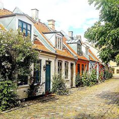 Picturesque #Møllestien in #Aarhus. Take a stroll down the cobbled street as you admire the old colourful houses. Thanks @mistykaou for sharing via #visitdenmark!