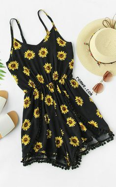Sunflower print pom pom trim cami romper in 2019 romwe одежд Cute Casual Outfits, Girly Outfits, Cute Summer Outfits, New Outfits, Stylish Outfits, Summer Wear, Teenage Outfits, Teen Fashion Outfits, Cute Fashion