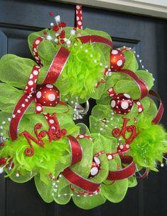 Wreath made from bath poufs. So much cheaper than that mesh stuff!