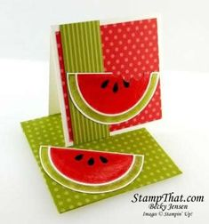 Stampin' Up! Mouthwatering - cute 3x3 card with watermelon