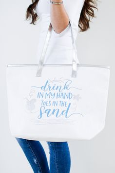 c29412ccfad6c Drink in my Hand   Toes in the Sand Beach Bag Womens Beach Bag