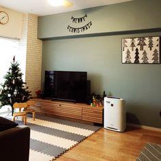 akkoさんの、リビング,観葉植物,照明,IKEA,アクセントクロス,北欧,リフォーム,朝日ウッドテック,Campagne,のお部屋写真 Diy Interior, Room Interior, Interior Architecture, Interior Design, Condo Living, Home And Living, Contemporary Cabin, Simple Furniture, Love Home