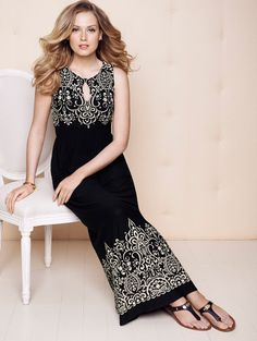 Total comfort AND style!  Soma Keyhole Maxi Dress in Black Embroidery Print - Soma Sweepstakes