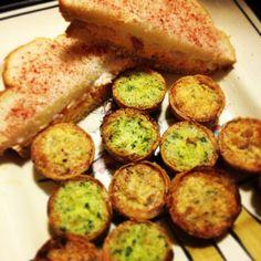 Pimento Cheese and Paprika Sandwich and Mini Quiche Lorraine's and Florentine's.