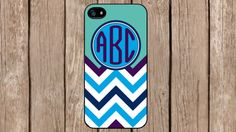 Personalized Monogram Chevron Turquoise Purple for iPhone 4/4s/5/5s/5c Samsung Galaxy S3/S4/S5/Note 2/Note 3 by TopCraftCase, $6.99