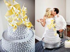 Pinwheel wedding cake decoration