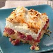 """A press-in-the-pan crust makes this easier-than-pie rhubarb dessert that taste extra-heavenly! """"This is far the best rhubarb recipe that I have ever tried, I have been making it for just over a year n Meringue Desserts, Rhubarb Desserts, Rhubarb Cake, Köstliche Desserts, Dessert Recipes, Rhubarb Meringue Pie, Cooking Rhubarb, Tiramisu Dessert, Pie Dessert"""