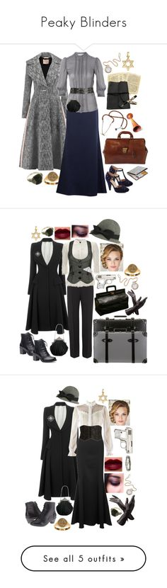 """Peaky Blinders"" by scarletblaze13 ❤ liked on Polyvore featuring Roksanda, Alexander McQueen, J by Jasper Conran, Waterman, The Bridge, Bulova, peakyblinders, Forever 21, Giorgio Armani and Globe-Trotter"