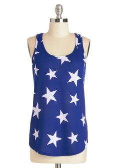 Starry Knit Tank, @ModCloth  Starry night skies need white skirts to be paired with.