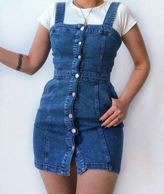 1 dress 5 ways 💙 Wearing this gorgeous denim dress from 💫💫 Teen Fashion Outfits, Girly Outfits, Cute Casual Outfits, Pretty Outfits, Stylish Outfits, Beautiful Outfits, Fashion Fashion, Fashion Women, Latest Fashion