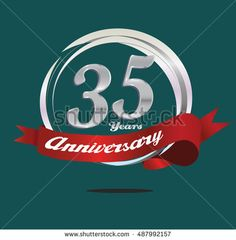 35 years silver anniversary logo with ring composition and red ribbon. anniversary logo for birthday, celebration, wedding and party