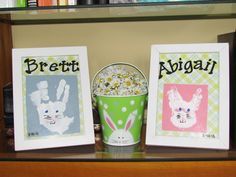 Handprint bunnies.  Thanks for the idea Brooke!!!  Paint all of child's hand except for the thumb and stamp on paper.