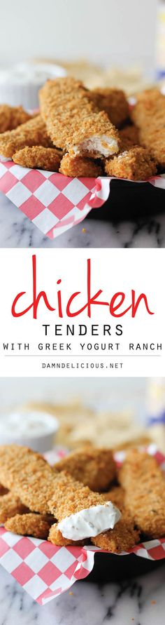 Tenders with Greek Yogurt Ranch - These healthy baked chicken tenders can be enjoyed by both kids and grown-ups! Baked Chicken Tenders Healthy, Greek Yogurt Ranch, Healthy Chicken Recipes, Chicken Meals, Fried Chicken, Healthy Baking, Baking Recipes, Favorite Recipes, Yummy Food