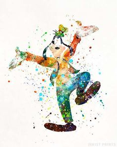 Goofy posters by Inkist Prints! This unique watercolor art print is a perfect decoration for any nursery room. It would also be a great wall art for kids room and will bring back childhood memories for adults, which makes a perfect gift for any age! Watercolor Disney, Watercolor Map, Goofy Disney, Disney Love, Arte Disney, Disney Art, Disney Posters, Disney Drawings, Disney Wallpaper