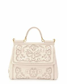 Miss+Sicily+Leather+Lace+Satchel+Bag,+White+by+Dolce+&+Gabbana+at+Neiman+Marcus.