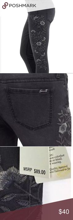 Limited! Seven7 skinny jeans. Floral embroidery Limited!! Super cute. Seven7 brand skinny jeans. Floral embroidery. Faded black. Seven7 Jeans Skinny