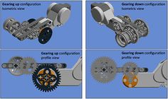 Two pairs of panels. The left panels show the gearing up configurations. The right panels show the gearing down configurations. Each model contains a motor and wheel assembled onto a particular gear train.