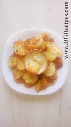 Homemade potato chips with French dip