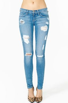Worn Thin Skinny Jeans - I've never really been into jeans like this...but I think I might try a pair. I'm kind of really loving the look.