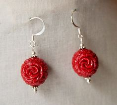 Handmade Red Earrings Red Resin Flower Earrings by GnidGnadDesigns