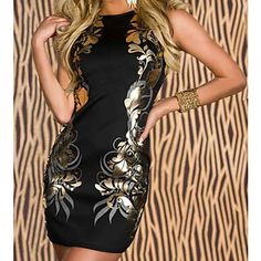 Stretchy Foil Printing Backless Bodycon Dress – USD $ 22.99