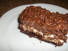 Rice Krispies Chocolate Dream Bars from Food.com:   I made this for church fellowship gatherings and it was always the first to go. I have used various flavoured chips and it always turns out delicious.